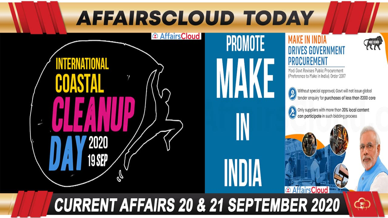 Current Affairs September 20 & 21 2020