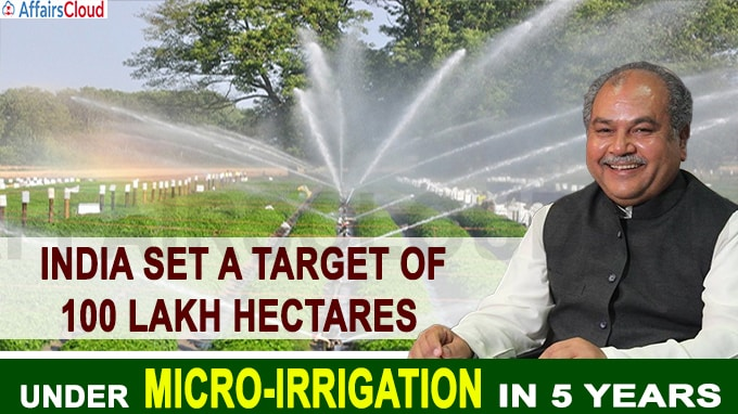 India set a target of 100 lakh hectares under micro-irrigation