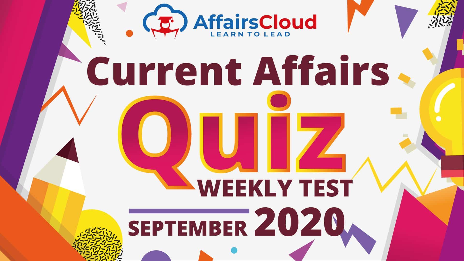 Current Affairs Weekly Quiz September 2020