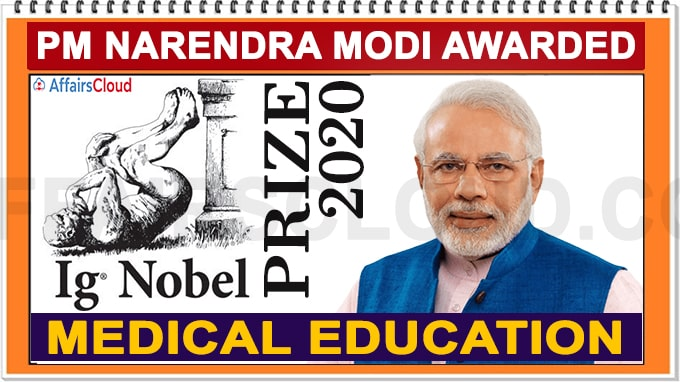 PM Narendra Modi awarded Ig Nobel Prize 2020 for medical education