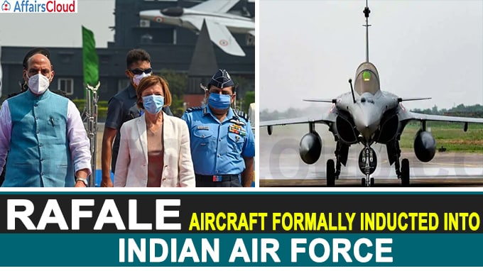Rafale aircraft formally inducted into Indian Air Force