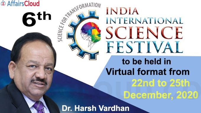 6th India International Science Festival to be held in Virtual format from