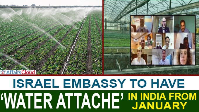 Israel Embassy to have 'Water Attache' in India from January