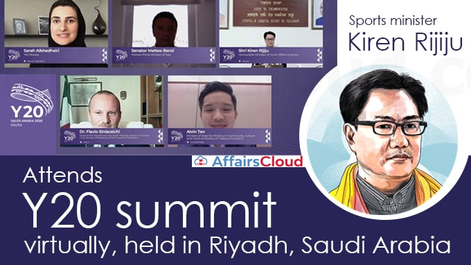 Sports-minister-Kiren-Rijiju-attends-Y20-summit-virtually,-held-in-Riyadh,-Saudi-Arabia