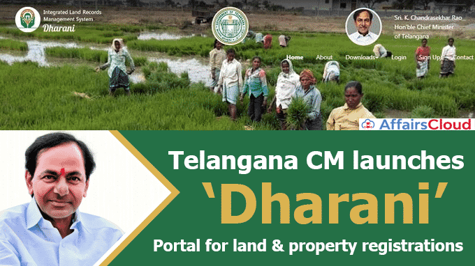 Telangana-CM-launches-'Dharani'-Portal-for-land-&-property-registrations