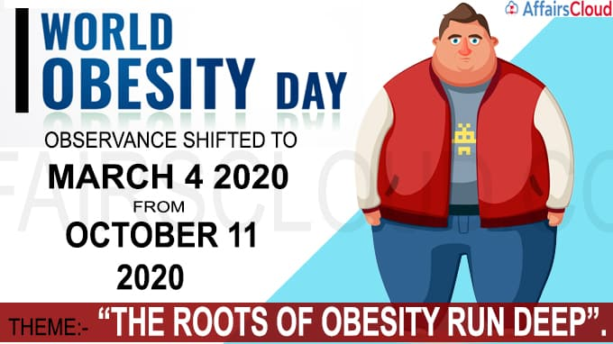 World Obesity Day observance shifted to March 4 2020 from October 11 2020 new