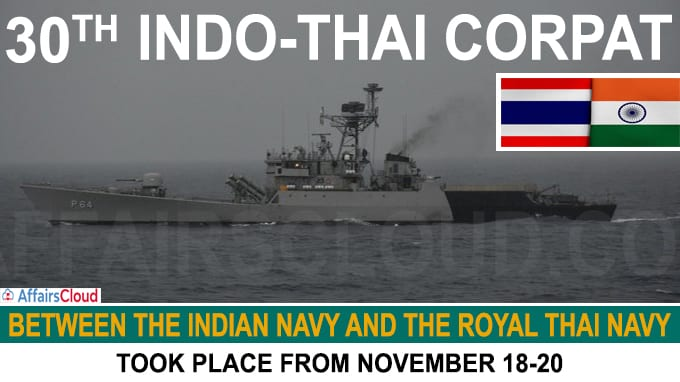 30th India-Thailand Coordinated Patrol took place between Nov 18-20