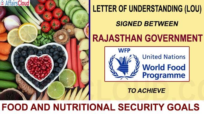 Letter of Understanding signed between Rajasthan UN World Food Programme