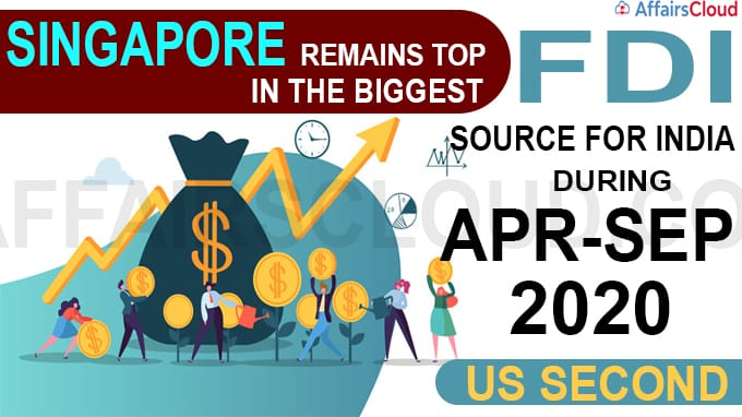 US second biggest FDI source for India during Apr-Sep 2020