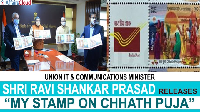 Union IT and Communications Minister Shri Ravi Shankar Prasad releases My Stamp on Chhath Puja