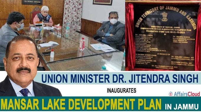 Union Minister Dr Jitendra Singh inaugurates Mansar Lake Development Plan in Jammu