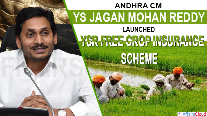 Andhra CM Jaganmohan launches 'YSR Free Crop Insurance scheme' for farmers