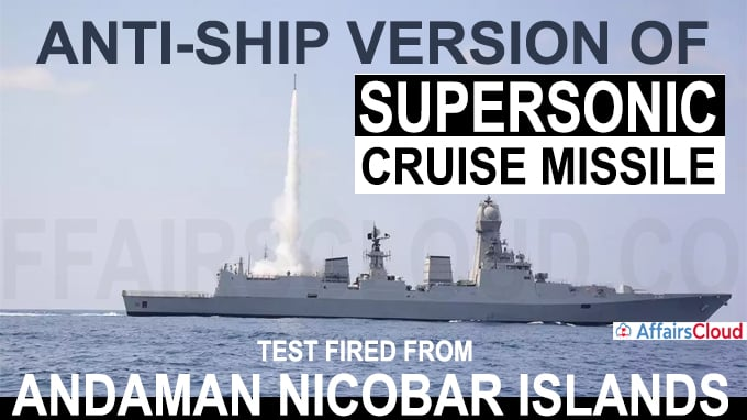Anti-ship version of supersonic cruise missile test fired