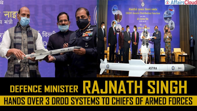 Defence minister Rajnath Singh hands over 3 DRDO systems to chiefs of armed forces