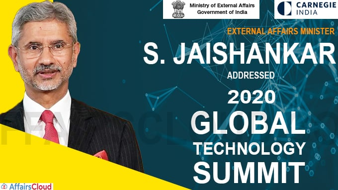 External Affairs Minister addresses 2020 Global Technology Summit