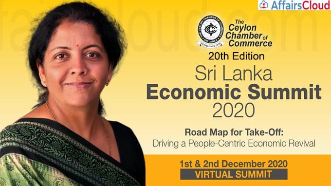 Finance Minister Nirmala Sitharaman addresses at the inauguration of the Sri Lanka Economic Summi