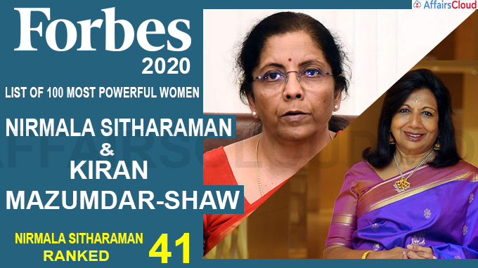 Finance Minister Nirmala Sitharaman at 41 on Forbes 2020 list
