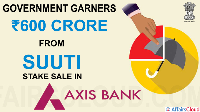 Government garners ₹600 crore from SUUTI stake sale in Axis Bank