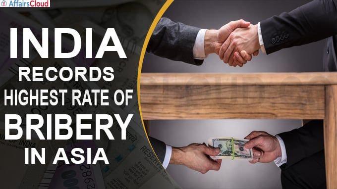 India records highest rate of bribery in Asia
