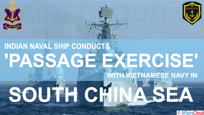Indian naval ship conducts passage exercise with Vietnamese Navy in South China Sea