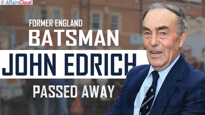 Legendary England batsman, John Edrich, passes away