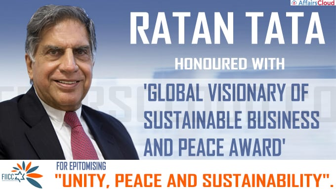 Ratan Tata honoured with 'Global Visionary of Sustainable Business and Peace'