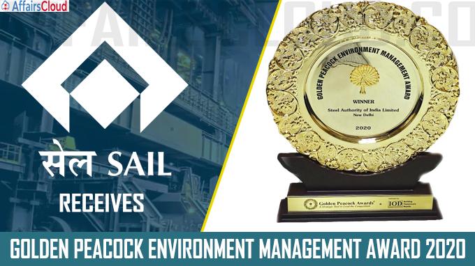 SAIL receives Golden Peacock Environment Management Award 2020