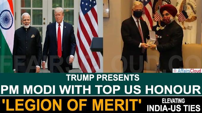 Trump presents PM Modi with top US honour 'Legion of Merit'