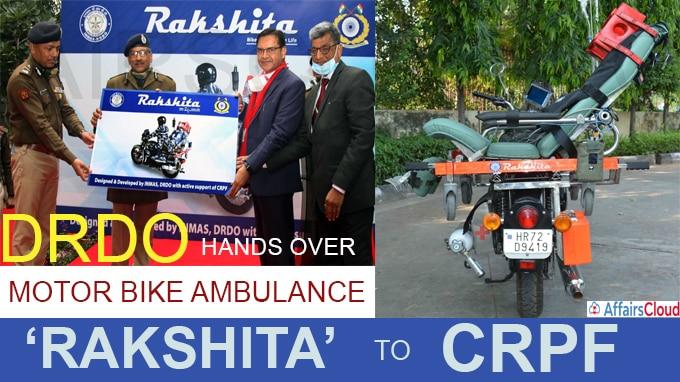 DRDO hands over Motor Bike Ambulance