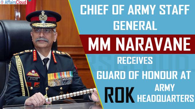 General Naravane receives Guard of Honour at ROK Army Headquarters