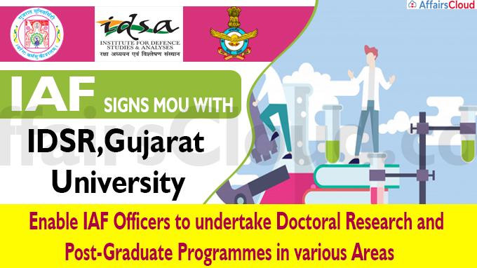IAF Academic Collaboration with IDSR, Gujarat University MoU Signed