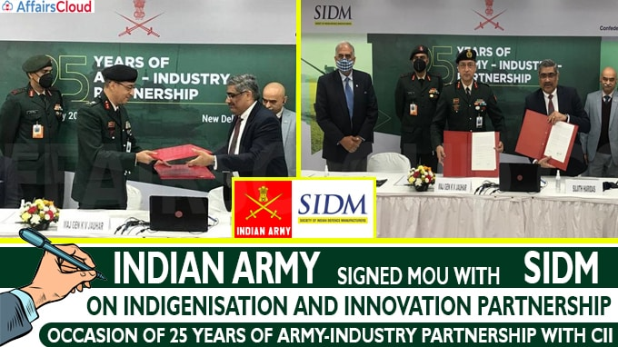 Indian Army Signs MoU with SIDM