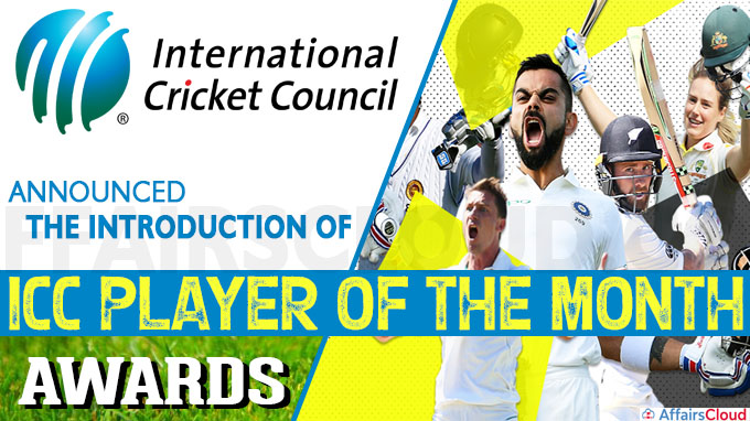International Cricket Council (ICC) announced the introduction of the ICC Player