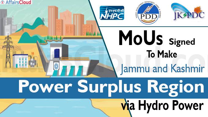 MoUs signed to make J-K power surplus region via hydro power
