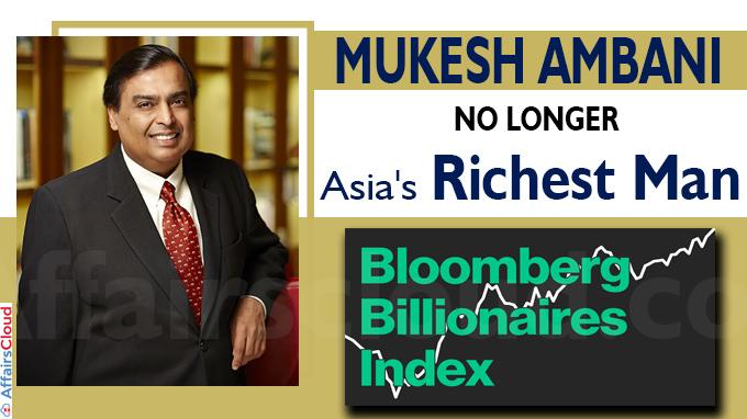 Mukesh Ambani no longer Asia's richest man