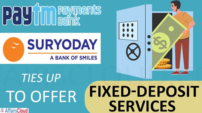 Paytm Bank ties up with Suryoday Small Finance Bank to offer fixed-deposit services