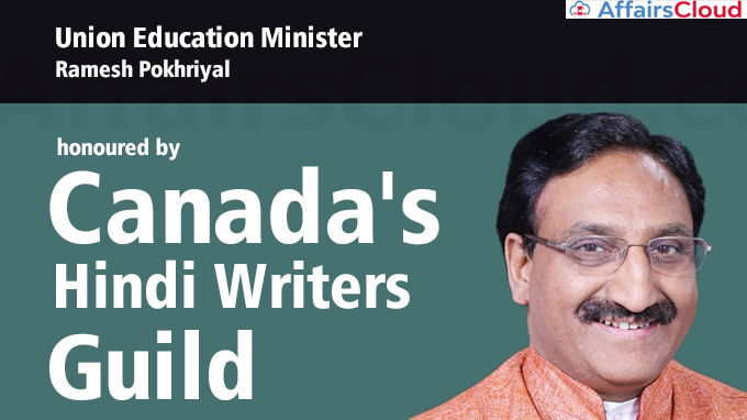 Union-Education-Minister-Ramesh-Pokhriyal-honoured-by-Canada's-Hindi-Writers-Guild