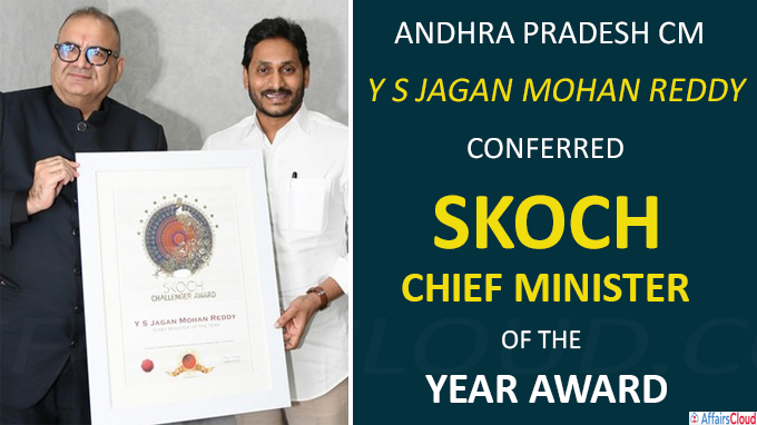 Andhra Pradesh CM Y S Jagan Mohan Reddy conferred Skoch Chie