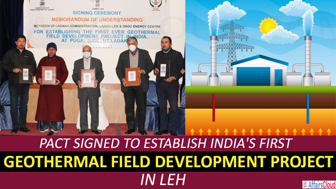 Pact signed to establish India''s first geothermal field development project in Leh