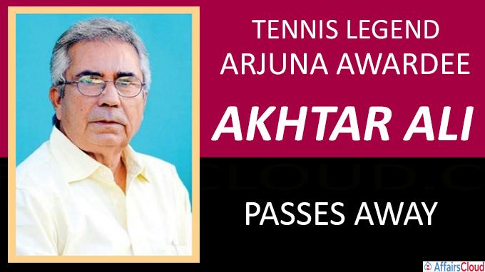 Tennis legend ,Arjuna Awardee Akhtar Ali passes away