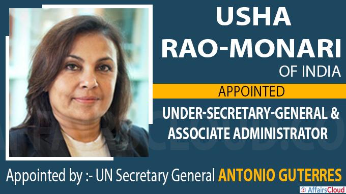Usha Rao-Monari of India appointed Under-Secretary-General and Associate Administrator of UNDP