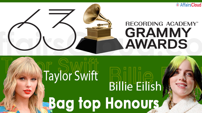 63rd Grammy Awards Taylor Swift, Billie Eilish bag top honours