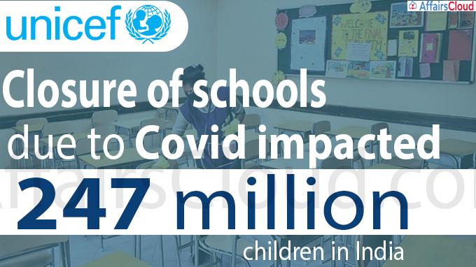 Closure of schools due to Covid impacted 247 million children in India