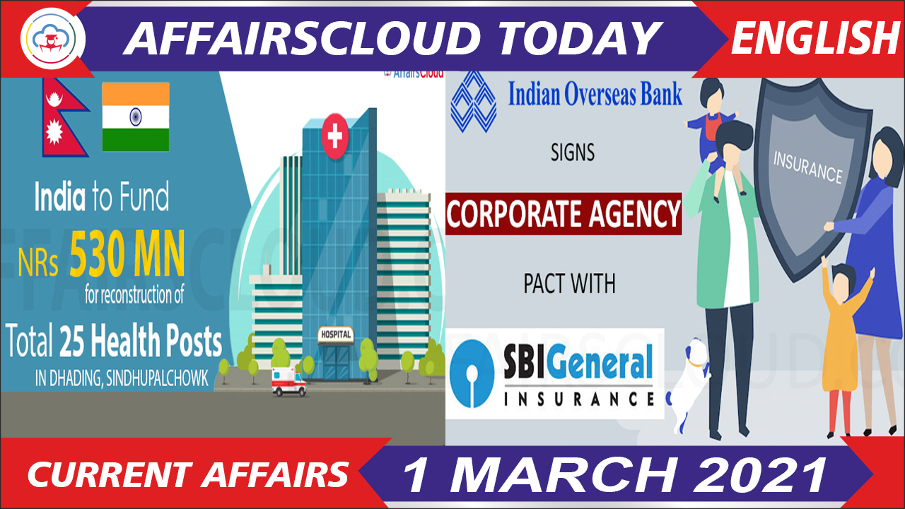 Current Affairs 1 March 2021 English