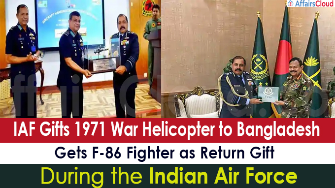 IAF gifts 1971 war helicopter to Bangladesh