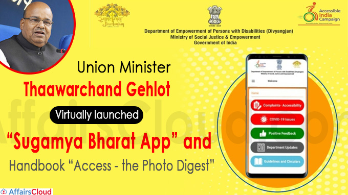 "Thaawarchand Gehlot virtually launches ""Sugamya Bharat App"""