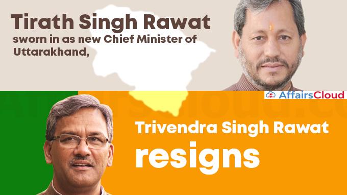 Tirath-Singh-Rawat-sworn-in-as-new-Chief-Minister-of-Uttarakhand,-Trivendra-Singh-Rawat-resigns