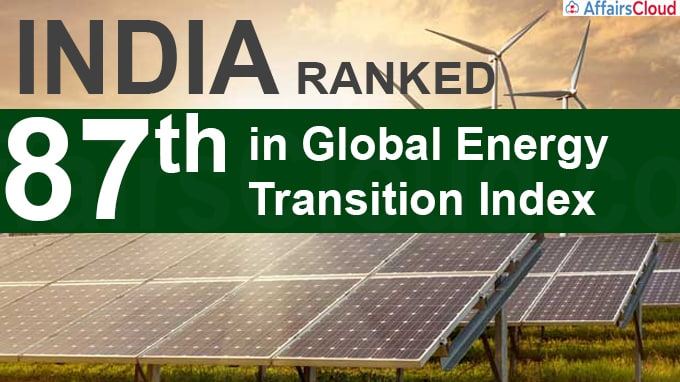 India ranks 87th in global energy transition index