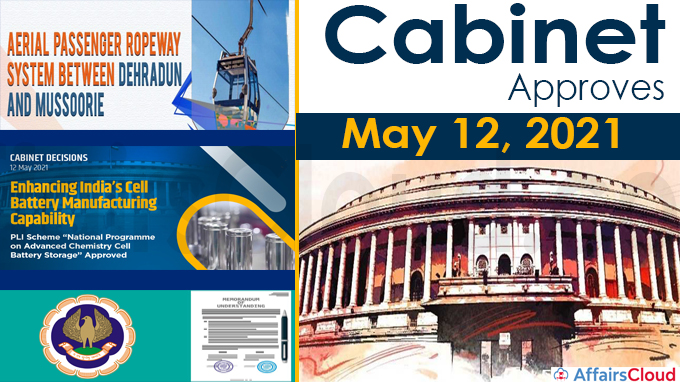 Cabinet approvals on May 12, 2021