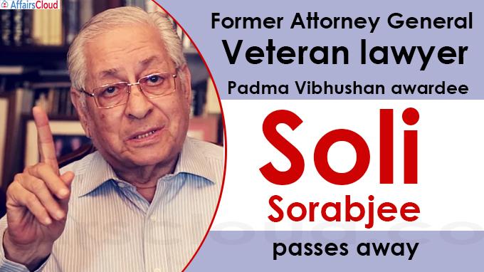 Former Attorney General, Veteran lawyer and Padma Vibhushan awardee SoliSorabjee passes away